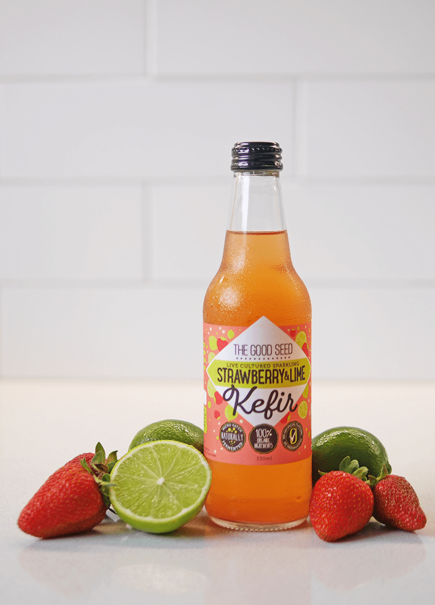 The Good Seed Kefir Sparkling Strawberry & Lime Social Media Photography